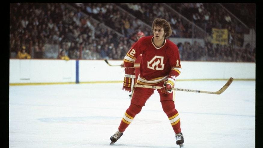BOSTON, MA. - 1970's: Tom Lysiak #12 of the Atlanta Flames plays against the Boston Bruins . (Photo by Steve Babineau/NHLI via Getty Images)