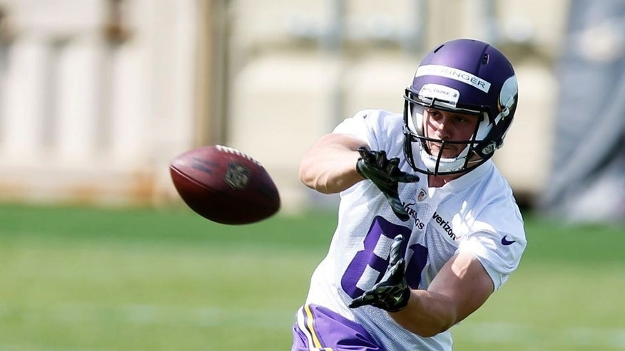 Minnesota Vikings wide receiver Morovitz Boehringer, of Germany, pulls in a pass during the NFL football team's rookie minicamp Friday, May 6, 2016, in Eden Prairie, Minn. (AP Photo/Jim Mone)
