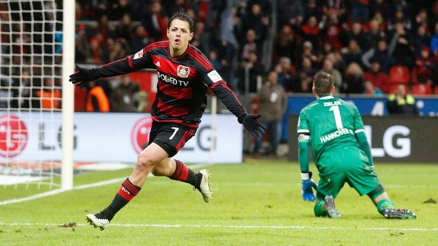 LEVERKUSEN, GERMANY - JANUARY 30: Javier Hernandez Chicharito of Leverkusen celebrates scoring the 3:0 during the Bundesliga match between Bayer Leverkusen and Hannover 96 at BayArena on January 30, 2016 in Leverkusen, Germany. (Photo by Mika Volkmann/Bongarts/Getty Images)
