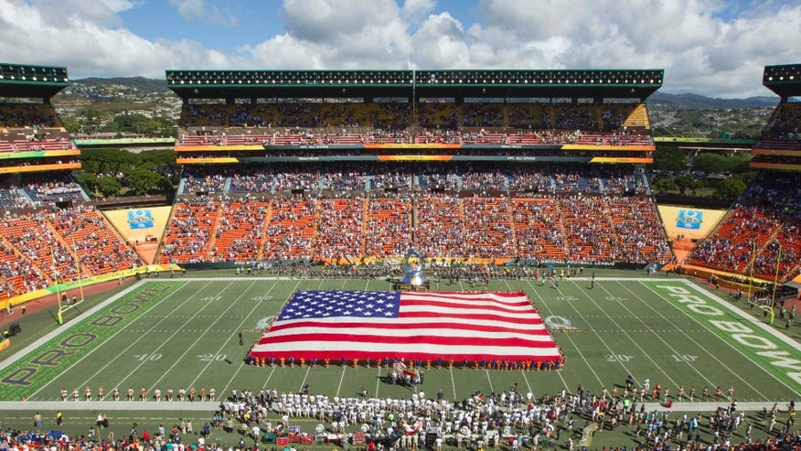 FILE In this Jan. 31, 2016, file photo, an American flag is displayed while fans sing the national anthem before the NFL Pro Bowl football game in Honolulu, Hawaii.