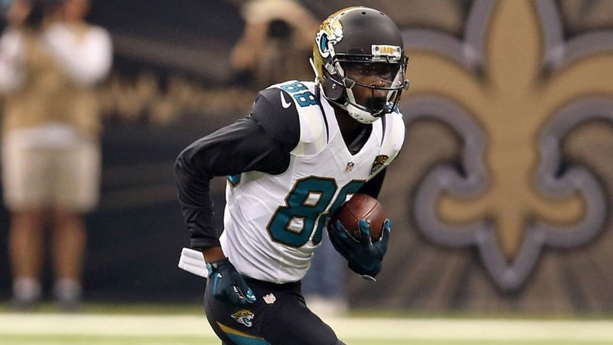 Dec 27, 2015; New Orleans, LA, USA; Jacksonville Jaguars wide receiver Allen Hurns (88) runs after a catch against the New Orleans Saints during the first quarter at the Mercedes-Benz Superdome. Mandatory Credit: Chuck Cook-USA TODAY Sports