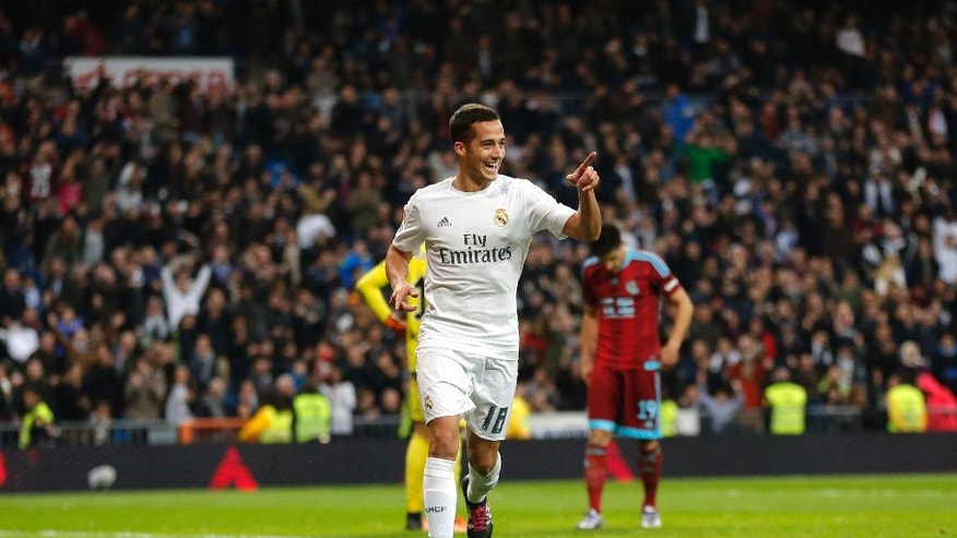 FILE - In this Wednesday, Dec. 30, 2015 filer, Real Madrid's Lucas Vazquez celebrates after scoring a goal during a Spanish La Liga soccer match between Real Madrid and Real Sociedad at the Santiago Bernabeu stadium in Madrid. Many nations are betting on youth at the European Championship, giving promising youngsters a chance to breakthrough in France. Some of the top nations have included up-and-coming players in their squads for this month's tournament, with some giving up experience to make way for young talent.(AP Photo/Daniel Ochoa de Olza, File)