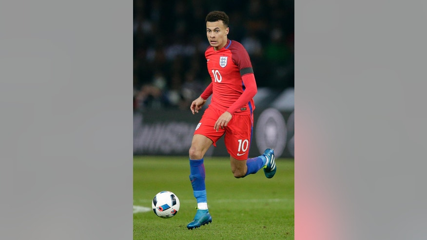 FILE - In this Saturday, March 26, 2016 file photo, England's Dele Alli plays the ball during a friendly soccer match between Germany and England in Berlin. Many nations are betting on youth at the European Championship, giving promising youngsters a chance to breakthrough in France. Some of the top nations have included up-and-coming players in their squads for this month's tournament, with some giving up experience to make way for young talent. (AP Photo/Michael Sohn, File)
