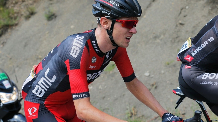 FILE - In this July 22, 2015, file photo, Tejay van Garderen of the U.S. struggles after he fell ill during the 17th stage of the Tour de France cycling race between Digne-les-Bains and Pra Loup, France.