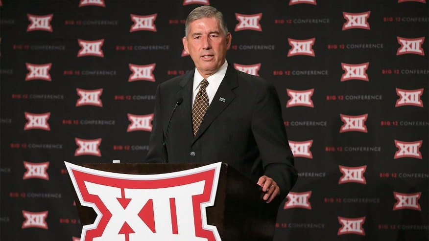 Jul 20, 2015; Dallas, TX, USA; Big 12 commissioner Bob Bowlsby speaks to the media during the Big 12 Media Days at Omni Dallas. Mandatory Credit: Kevin Jairaj-USA TODAY Sports