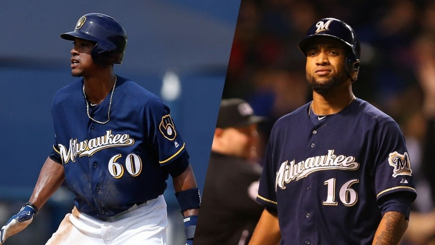 The Milwaukee Brewers have placed rightfielder Domingo Santana and recalled outfielder Keon Broxton.