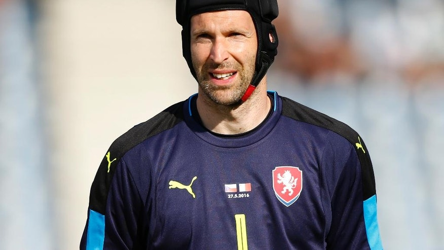 FILE - In this Wednesday, March 23, 2016 file photo, Petr Cech, goalie of Czech Republic, arrives for a friendly soccer match between Czech Republic and Malta in Kufstein, Germany. (AP Photo/Matthias Schrader, File)