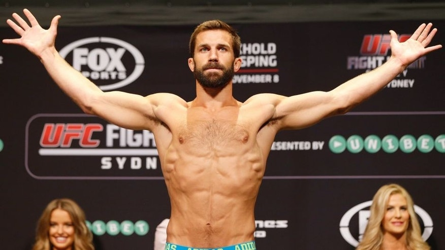 Luke Rockhold of the United States weighs in during the UFC Fight Night weigh-in at the Allphones Arena on November 7, 2014 in Sydney, Australia. (Photo by Josh Hedges/Zuffa LLC/Zuffa LLC via Getty Images)