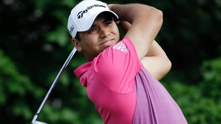 Jason Day, of Australia, tees off on the 14th hole during the second round of the Memorial golf tournament, Friday, June 3, 2016, in Dublin, Ohio. (AP Photo/Darron Cummings)
