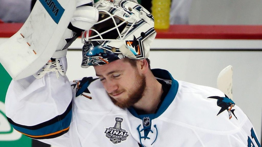 San Jose Sharks goalie Martin Jones skates back to the net after a timeout during the second period in Game 2 of the NHL hockey Stanley Cup Finals against the Pittsburgh Penguins on Wednesday, June 1, 2016, in Pittsburgh. (AP Photo/Gene J. Puskar)