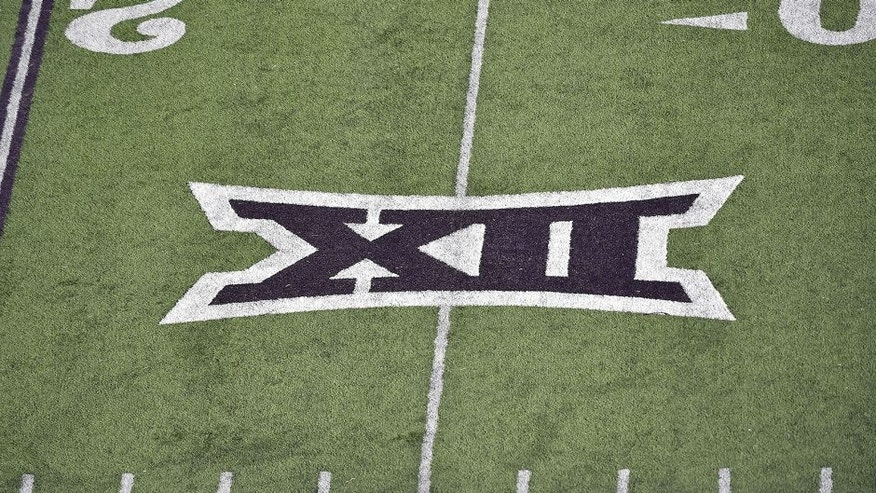 <p>MANHATTAN, KS - NOVEMBER 21: A general view of the the Big 12 logo painted on the field during a game between the Kansas State Wildcats and the Iowa State Cyclones on November 21, 2015 at Bill Snyder Family Stadium in Manhattan, Kansas. (Photo by Peter G. Aiken/Getty Images) *** Local Caption ***</p>