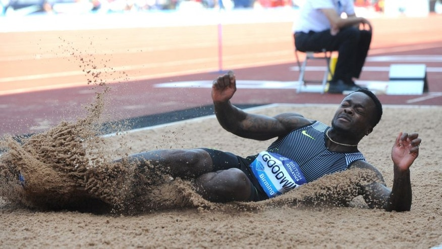 BIRMINGHAM, ENGLAND - JUNE 05 : Marquise Goodwin of USA wins the Men's Long Jump during the 2016 IAAF Diamond League meeting at Alexander Stadium in Birmingham, England on June 05, 2016. (Photo by Rui Vieira/Anadolu Agency/Getty Images)