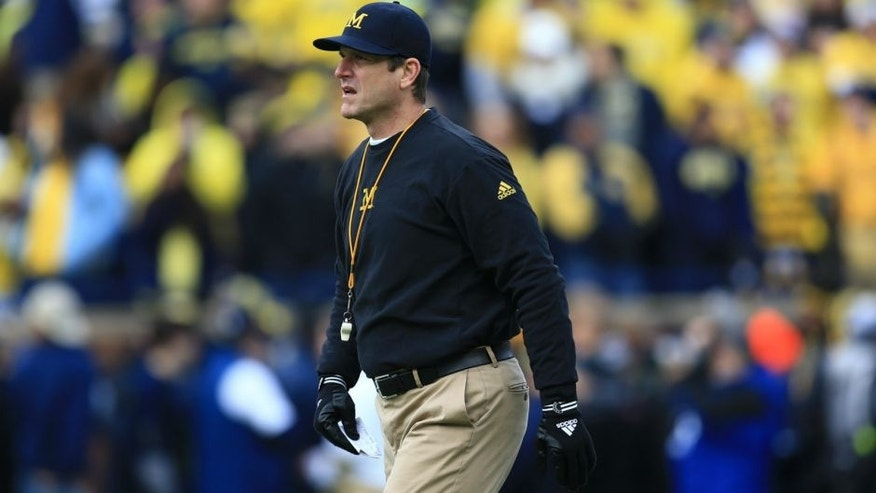 ANN ARBOR, MI - NOVEMBER 28: Head coach Jim Harbaugh of the Michigan Wolverines during the game against the Ohio State Buckeyes at Michigan Stadium on November 28, 2015 in Ann Arbor, Michigan. Ohio State defeated Michigan 42-13. (Photo by Andrew Weber/Getty Images) *** Local Caption *** Jim Harbaugh