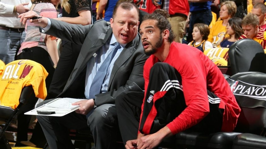 CLEVELAND, OH - MAY 4: Head coach Tom Thibodeau and Joakim Noah #13 of the Chicago Bulls talk before Game One of the Eastern Conference Semifinals against the Cleveland Cavaliers during the 2015 NBA Playoffs on May 4, 2015 at Quicken Loans Arena in Cleveland, Ohio. NOTE TO USER: User expressly acknowledges and agrees that, by downloading and or using this Photograph, user is consenting to the terms and conditions of the Getty Images License Agreement. Mandatory Copyright Notice: Copyright 2015 NBAE (Photo by Nathaniel S. Butler/NBAE via Getty Images)
