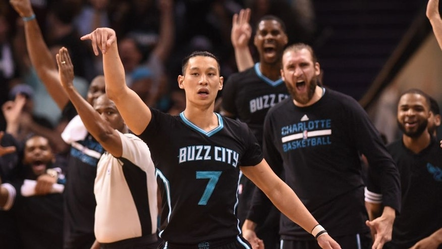 Apr 23, 2016; Charlotte, NC, USA; Charlotte Hornets guard Jeremy Lin (7) reacts after scoring during the second half in game three of the first round of the NBA Playoffs against the Miami Heat at Time Warner Cable Arena. Hornets win 96-80. Mandatory Credit: Sam Sharpe-USA TODAY Sports