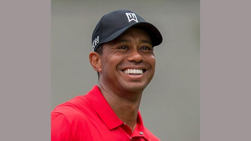 FILE - In this Aug. 23, 2015 file photo, Tiger Woods smiles at the third tee during the final round of the Wyndham Championship golf tournament in Greensboro, N.C. Woods is writing his first book since 2001 that is due out next spring. The book does not have a title, but it will be about his historic victory in the 1997 Masters. Woods is writing the book with Canadian golf writer Lorne Rubenstein. (AP Photo/Rob Brown, File)