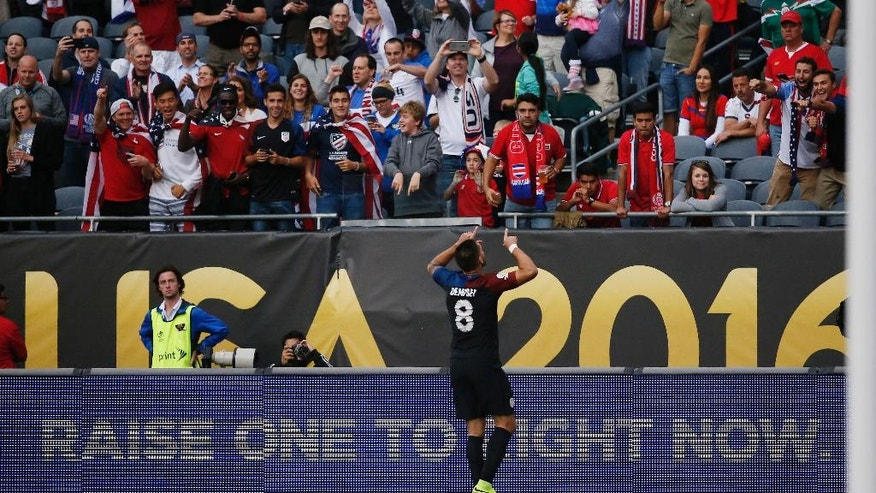 United States' Clint Dempsey (8) celebrates after a goal during a Copa America Centenario group A soccer match against Costa Rica at Soldier Field in Chicago, Tuesday, June 7, 2016. (AP Photo/Charles Rex Arbogast)