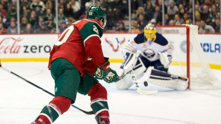 Tuesday, Jan. 12: Minnesota Wild defenseman Ryan Suter scores a short-handed goal in the second period against Buffalo Sabres goalie Linus Ullmark at Xcel Energy Center in St. Paul, Minn.