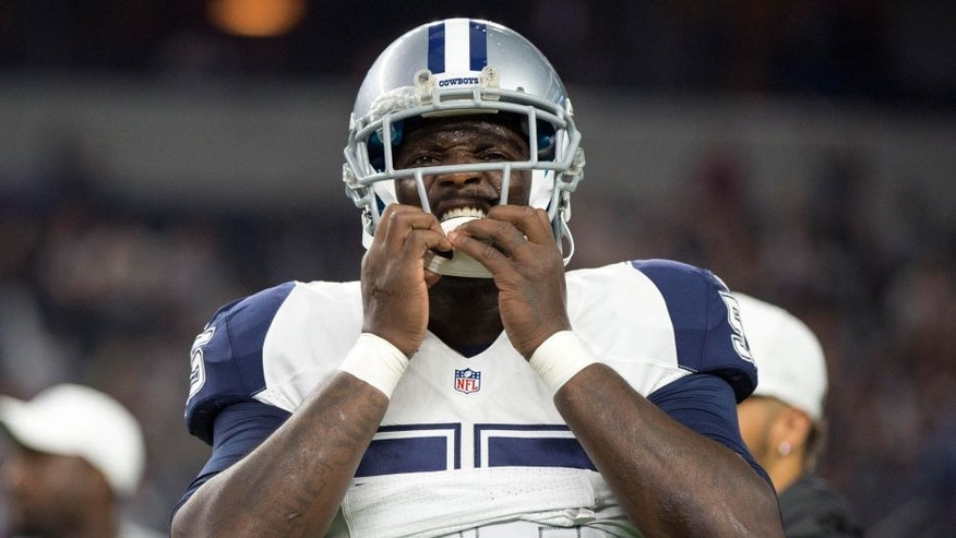 Nov 26, 2015; Arlington, TX, USA; Dallas Cowboys middle linebacker Rolando McClain (55) before the game against the Carolina Panthers game on Thanksgiving at AT&T Stadium. Mandatory Credit: Jerome Miron-USA TODAY Sports