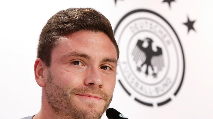 Jonas Hector speaks during a press conference after a training session at their base camp in Evian, France, Thursday, June 9, 2016. Germany will face the Ukraine in a Euro 2016 Group C soccer match in Lille on Sunday, June, 12, 2016. (AP Photo/Michael Probst)