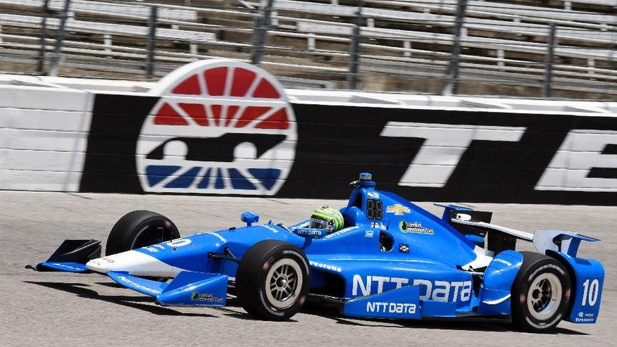 Tony Kanaan of Brazil comes out of turn 4 during am Indycar auto racing practice at Texas Motor Speedway, Friday, June 10, 2016, in Fort Worth, Texas. (AP Photo/Larry Papke)