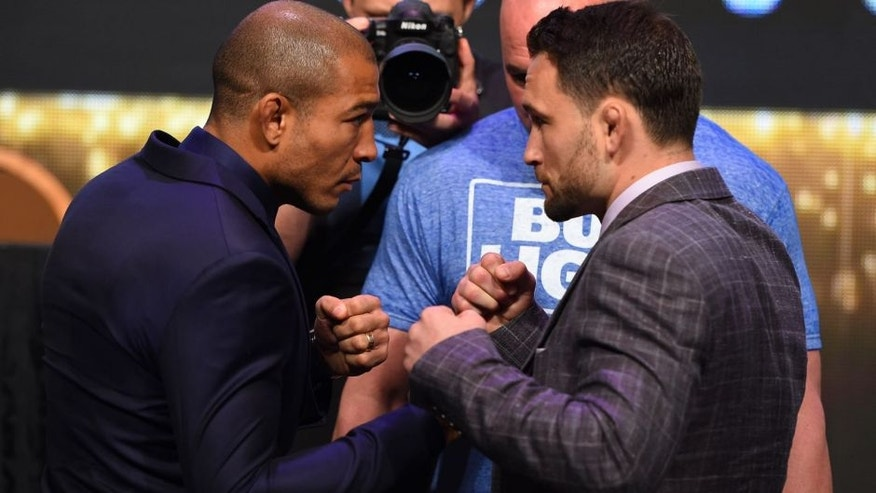 LAS VEGAS, NV - APRIL 20: (L-R) Opponents Jose Aldo of Brazil and Frankie Edgar face off during the UFC 200 press conference at the MGM Grand Garden Arena on April 20, 2016 in Las Vegas, Nevada. (Photo by Josh Hedges/Zuffa LLC/Zuffa LLC via Getty Images)