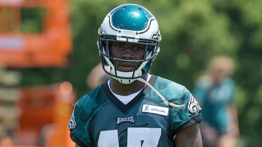 Jun 17, 2015; Philadelphia, PA, USA; Philadelphia Eagles wide receiver Nelson Agholor (17) during minicamp at The NovaCare Complex. Mandatory Credit: Bill Streicher-USA TODAY Sports