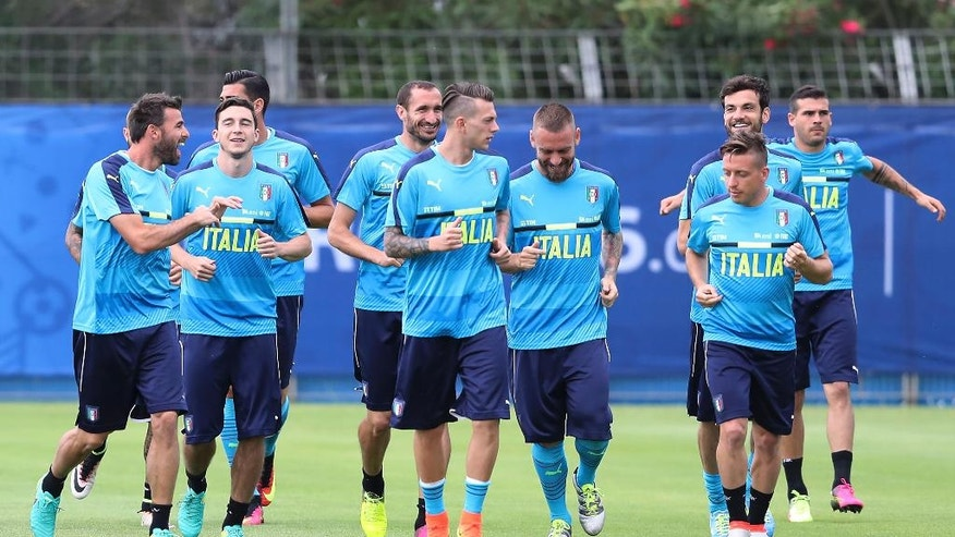 Italy players attend a training session at the Bernard Gasset center in Montpellier, France, Friday, June 10, 2016. Italy will face Belgium in a Euro 2016 Group E soccer match in Lyon on Monday, June 13, 2016. (AP Photo/Antonio Calanni)