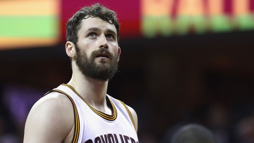 CLEVELAND, OH - JUNE 10: Kevin Love #0 of the Cleveland Cavaliers looks on during the first half against the Golden State Warriors in Game 4 of the 2016 NBA Finals at Quicken Loans Arena on June 10, 2016 in Cleveland, Ohio. NOTE TO USER: User expressly acknowledges and agrees that, by downloading and or using this photograph, User is consenting to the terms and conditions of the Getty Images License Agreement. (Photo by Ronald Martinez/Getty Images)