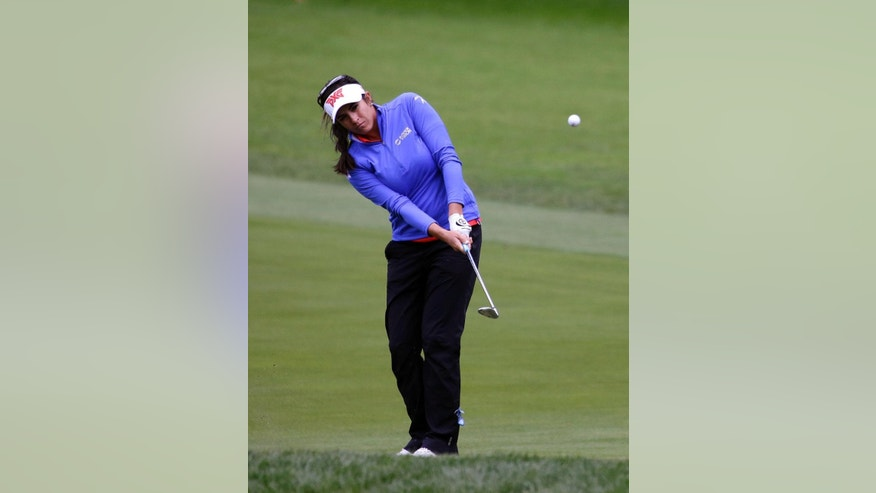 Gerina Piller hits the ball on the seventh hole during the second round at the Women's PGA Championship golf tournament at Sahalee Country Club on Friday, June 10, 2016, in Sammamish, Wash. (AP Photo/Elaine Thompson)
