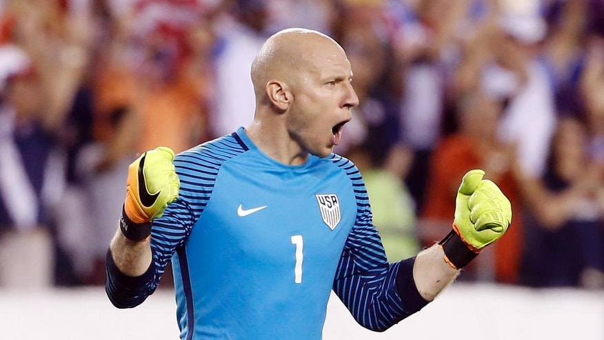 United States' Brad Guzan celebrates after winning a Copa America Group A soccer match against Paraguay, Saturday, June 11, 2016, in Philadelphia. (AP Photo/Matt Rourke)