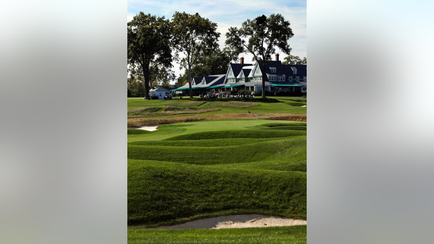 ADVANCE FOR WEEKEND EDITIONS, JUNE 11-12 - This Sept. 21,  2015, file photo, shows the clubhouse at Oakmont Country Club in Oakmont, Pa. The U.S. Open Golf Championship returns to Oakmont, perhaps the most storied, and feared, championship golf course in America. (AP Photo/Gene J. Puskar, File)