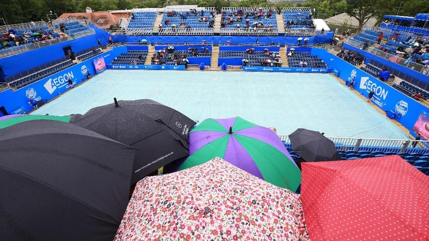 Rain delays the start of play during day one of the Birmingham Classic women's tennis tournament at the Edgbaston Priory, Birmingham central England Monday June 13, 2016. (Nigel French/PA  via AP) UNITED KINGDOM OUT