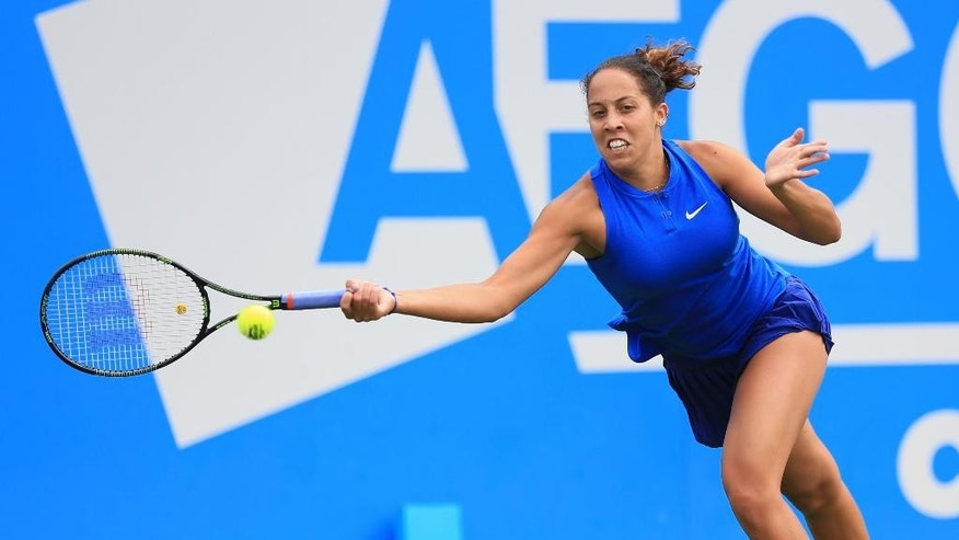 Madison Keys of the US   plays a return to Hungary's Timea Babos  during day one of the Birmingham Classic tennis tournament at the Edgbaston Priory, Birmingham central England  Monday June 13, 2016. (Nigel French/PA via AP) UNITED KINGDOM OUT