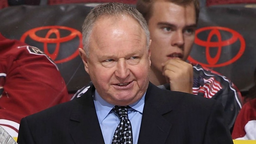 of the Anaheim Ducks of the Phoenix Coyotes during the NHL game at Jobing.com Arena on November 23, 2011 in Glendale, Arizona.,GLENDALE, AZ - NOVEMBER 23: Head coach Randy Carlyle of the Anaheim Ducks reacts on the bench during the NHL game against the Phoenix Coyotes at Jobing.com Arena on November 23, 2011 in Glendale, Arizona. The Coyotes defeated the Ducks 4-2. (Photo by Christian Petersen/Getty Images)