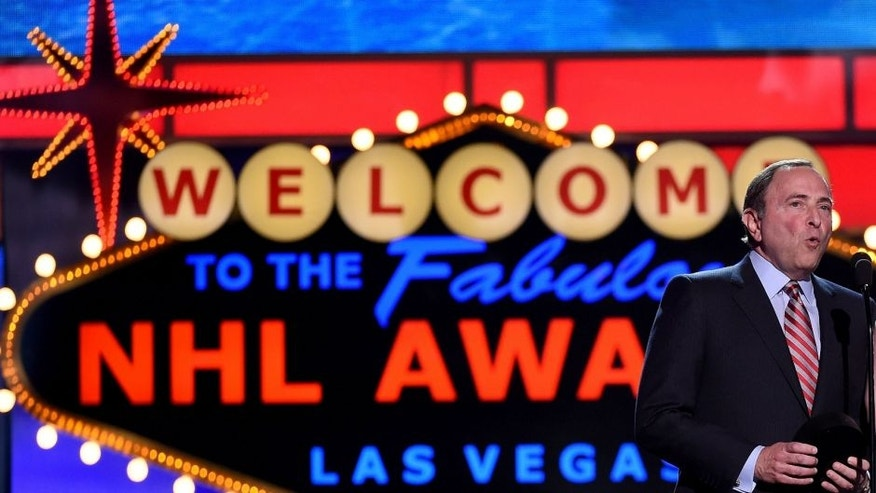 during the 2015 NHL Awards at MGM Grand Garden Arena on June 24, 2015 in Las Vegas, Nevada.,LAS VEGAS, NV - JUNE 24: Commissioner Gary Bettman of the NHL and Jordyn Leopold, the daugther of NHL player Jordan Leopold, speak during the 2015 NHL Awards at MGM Grand Garden Arena on June 24, 2015 in Las Vegas, Nevada. (Photo by Ethan Miller/Getty Images)