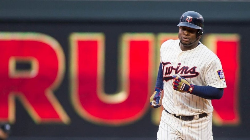 Wednesday, May 11, 2016: Minnesota Twins outfielder Miguel Sano rounds the bases on his 23rd birthday after hitting a home run in the second inning against the Baltimore Orioles at Target Field.