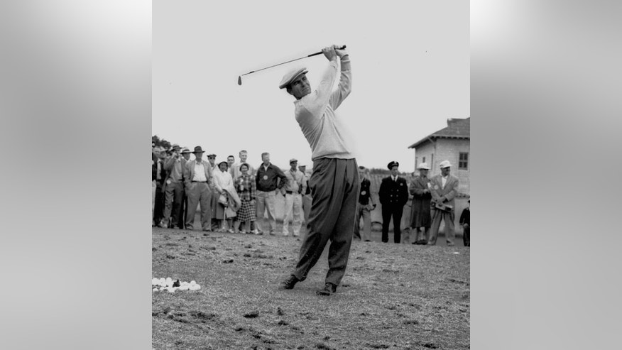 FILE - In this June 17, 1955, file photo, Jack Fleck warms up before a playoff with Ben Hogan for the U.S. Open golf tournament title in San Francisco. That year's tournament is best known for how unheralded Fleck took down Ben Hogan in one of golf's great upsets. What gets overlooked is how difficult Olympic played that year. There were only seven rounds under par all week, and Fleck had three of them, including the playoff.  (AP Photo/File)