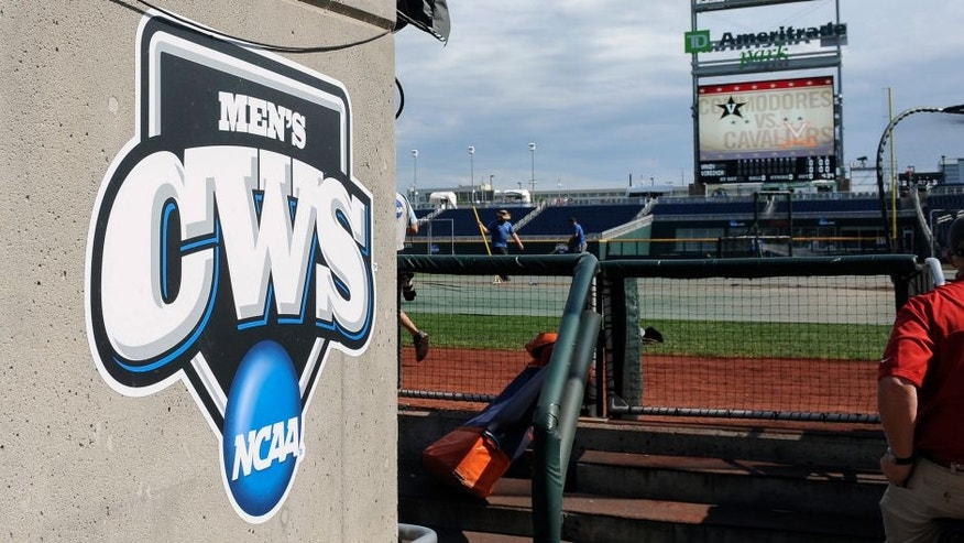 Jun 23, 2015; Omaha, NE, USA; General view of the CWS logo and field before the game between the Vanderbilt Commodores and Virginia Cavaliers in game two of the College World Series Finals at TD Ameritrade Park. Mandatory Credit: Steven Branscombe-USA TODAY Sports