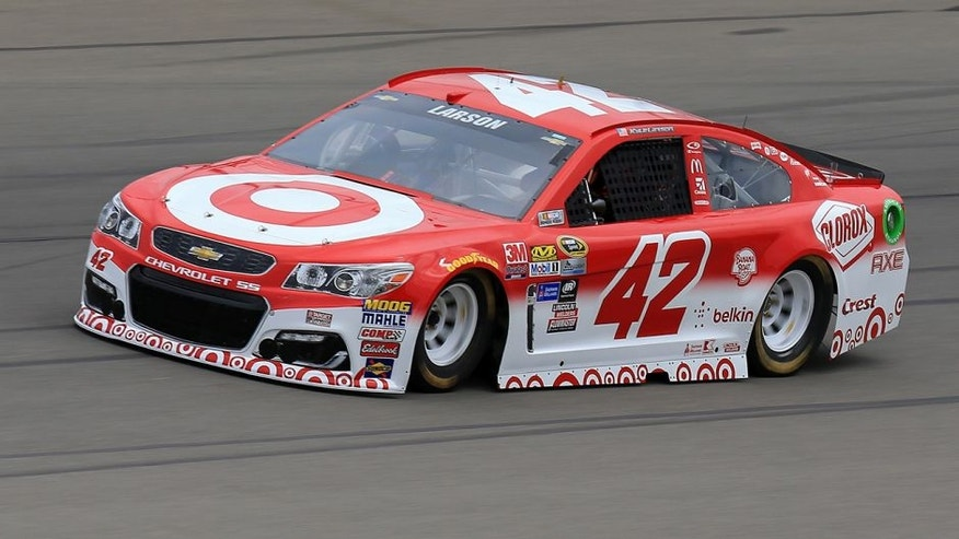 BROOKLYN, MI - JUNE 10: Kyle Larson drives the #42 Target Chevrolet during practice for the NASCAR Sprint Cup Series FireKeepers Casino 400 at Michigan International Speedway on June 10, 2016 in Brooklyn, Michigan. (Photo by Daniel Shirey/NASCAR via Getty Images)