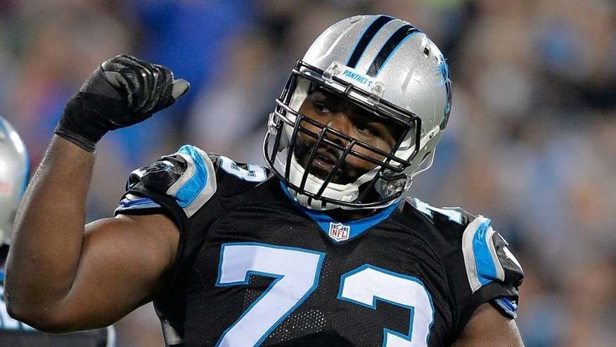 during their game at Bank of America Stadium on October 25, 2015 in Charlotte, North Carolina.,CHARLOTTE, NC - OCTOBER 25: Michael Oher #73 of the Carolina Panthers reacts during their game against the Philadelphia Eagles at Bank of America Stadium on October 25, 2015 in Charlotte, North Carolina. The Panthers won 27-16. (Photo by Grant Halverson/Getty Images)