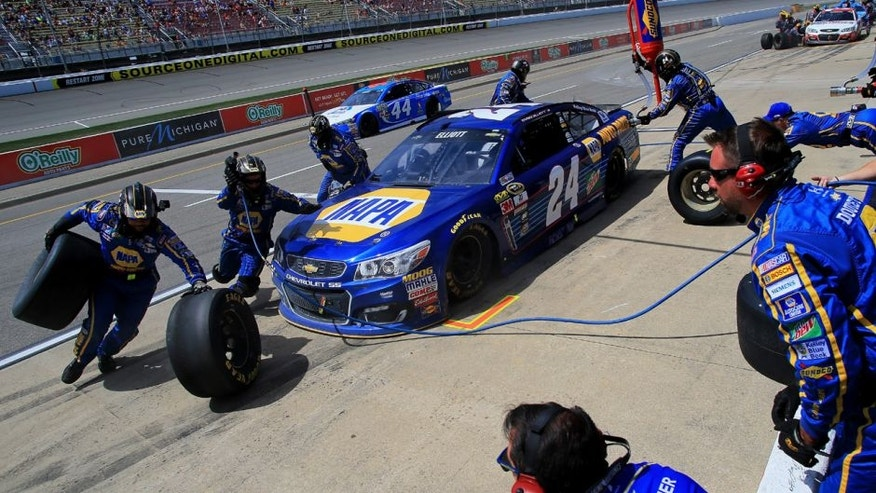 BROOKLYN, MI - JUNE 12: Chase Elliott, driver of the #24 NAPA Auto Parts Chevrolet, pits during the NASCAR Sprint Cup Series FireKeepers Casino 400 at Michigan International Speedway on June 12, 2016 in Brooklyn, Michigan. (Photo by Daniel Shirey/NASCAR via Getty Images)
