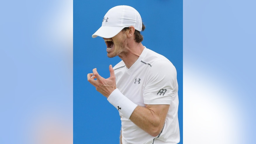 Britain's Andy Murray shouts after losing a point to Croatia's Marin Cilic during their semifinal tennis match on the sixth day of the Queen's Championships London, England, Saturday June 18, 2016. (AP Photo/Tim Ireland)