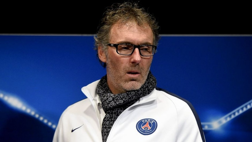 Paris Saint-Germain's French head coach Laurent Blanc gives a press conference on the eve of the team's UEFA Champions League football match against Chelsea, on February 15, 2016 at the Parc des Princes stadium in Paris. / AFP / FRANCK FIFE (Photo credit should read FRANCK FIFE/AFP/Getty Images)