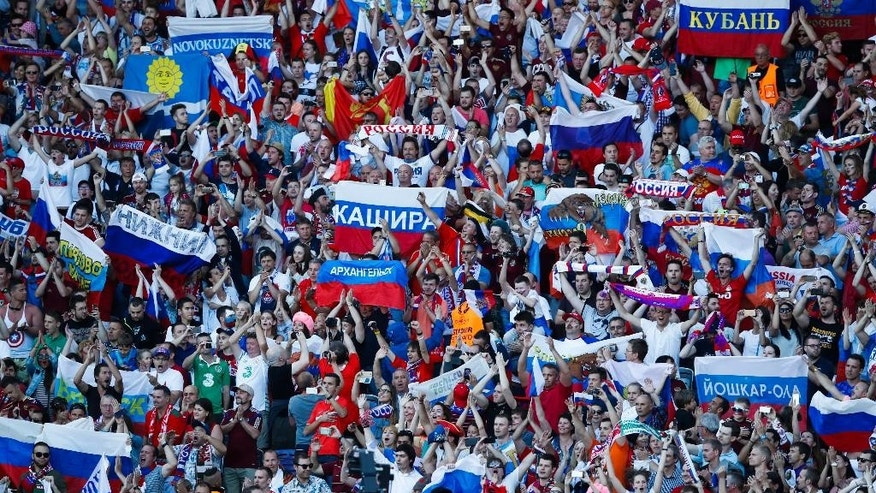 Russian fans cheer for their team during the Euro 2016 Group B soccer match between Russia and Wales at the Stadium municipal in Toulouse, France, Monday, June 20, 2016. Wales won 3-0.(AP Photo/Andrew Medichini)