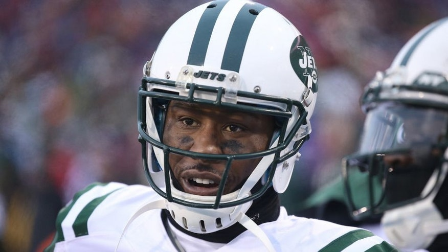 ORCHARD PARK, NY - JANUARY 3: Brandon Marshall #15 of the New York Jets looks on from the sideline against the Buffalo Bills during NFL game action at Ralph Wilson Stadium on January 3, 2016 in Orchard Park, New York. (Photo by Tom Szczerbowski/Getty Images)