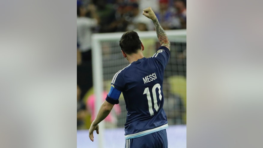 Argentina midfielder Lionel Messi (10) celebrates his goal against the United States during a Copa America Centenario semifinal soccer match Tuesday, June 21, 2016, in Houston. (AP Photo/David J. Phillip)