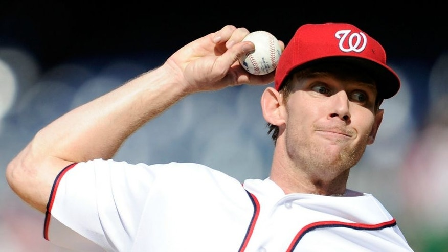 against the at Nationals Park on April 14, 2016 in Washington, DC.,WASHINGTON, DC - APRIL 14: Stephen Strasburg #37 of the Washington Nationals pitches against the Atlanta Braves at Nationals Park on April 14, 2016 in Washington, DC. (Photo by G Fiume/Getty Images)