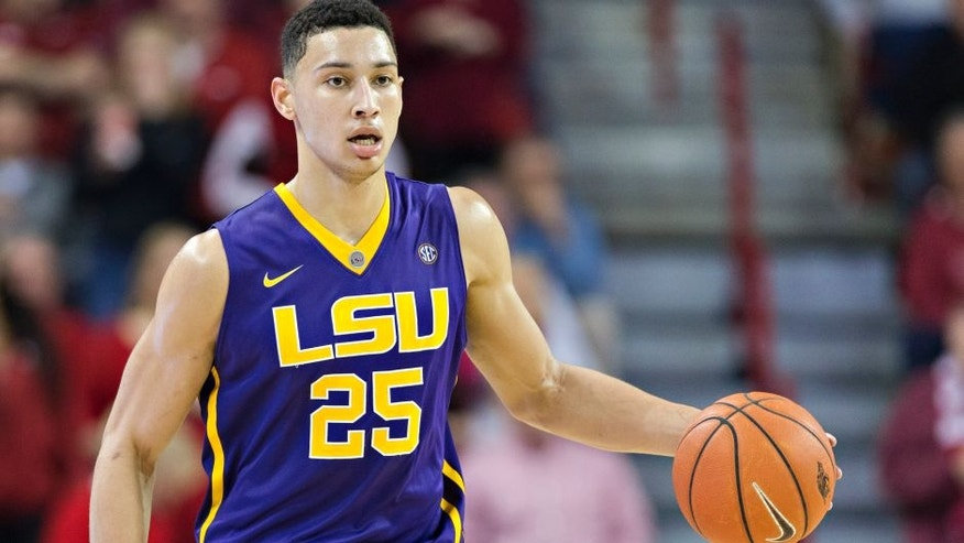 FAYETTEVILLE, AR - FEBRUARY 23: Ben Simmons #25 of the LSU Tigers dribbles the ball down the court during a game against the Arkansas Razorbacks at Bud Walton Arena on February 23, 2016 in Fayetteville, Arkansas. The Razorbacks defeated the Tigers 85-65. (Photo by Wesley Hitt/Getty Images)