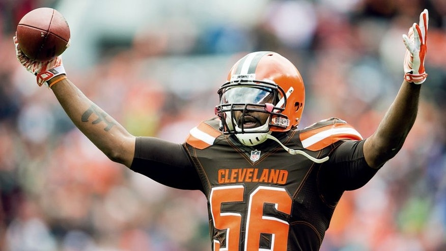 CLEVELAND, OH - OCTOBER 18: Inside linebacker Karlos Dansby #56 of the Cleveland Browns celebrates after making an interception during the first half against the Denver Broncos at FirstEnergy Stadium on October 18, 2015 in Cleveland, Ohio. (Photo by Jason Miller/Getty Images)
